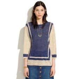 MADEWELL Sandbar Linen Blend Sweater Navy Tan  S